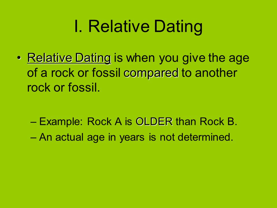 which is an example of a relative dating method openstudy Methods of geological dating: numerical and relative dating principles of radiometric dating example of a rock layer that is not smooth or parallel.
