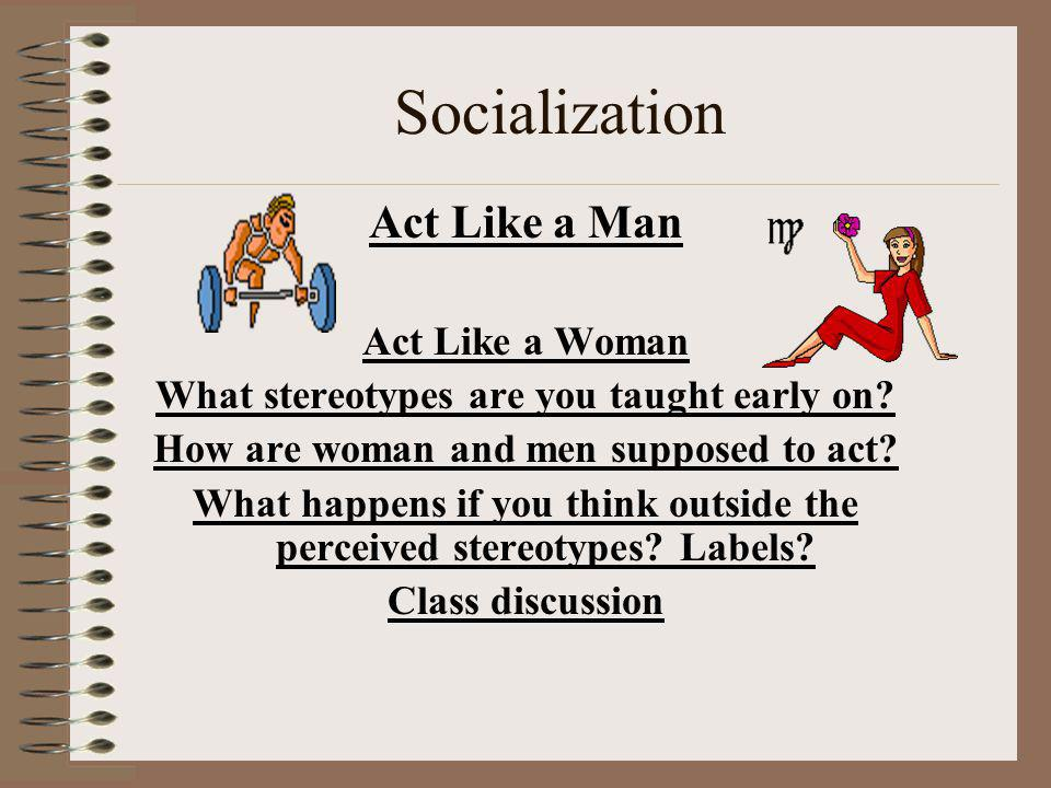 Socialization Act Like a Man Act Like a Woman