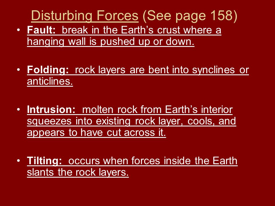 Disturbing Forces (See page 158)