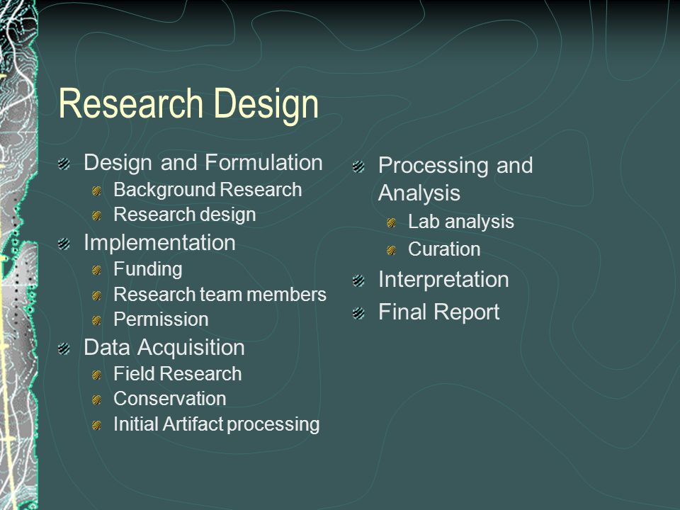 Research Design Design and Formulation Implementation Data Acquisition