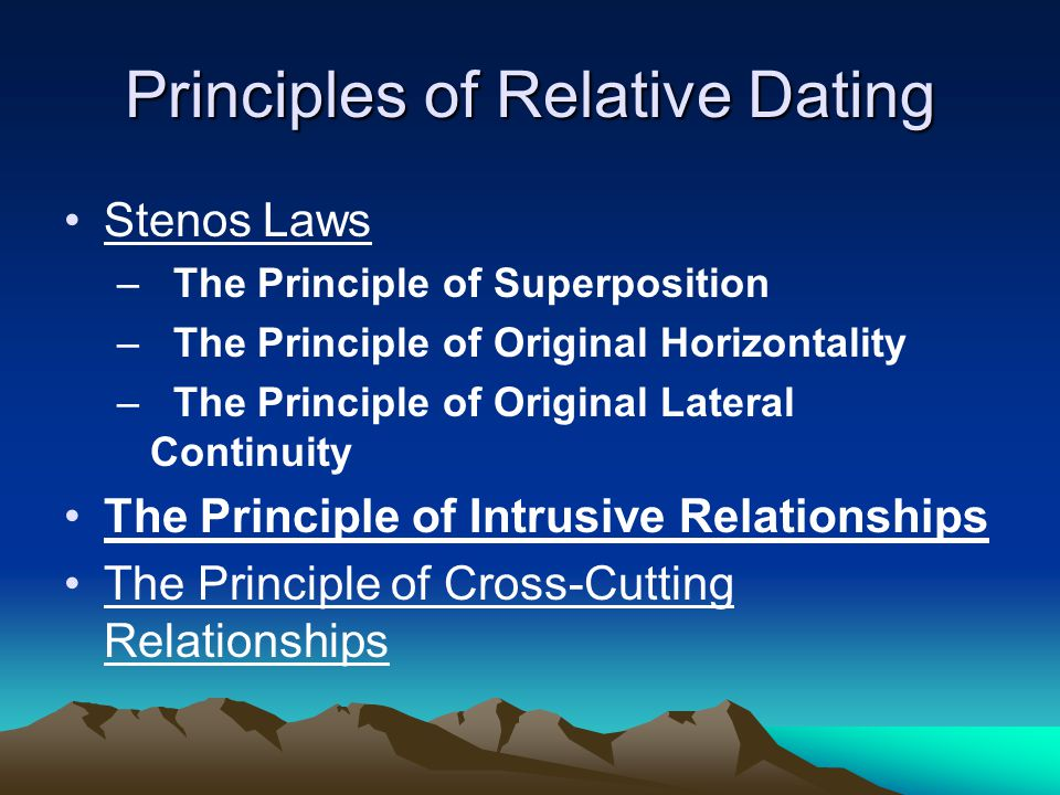Nicolaus stenos three principles used in relative dating