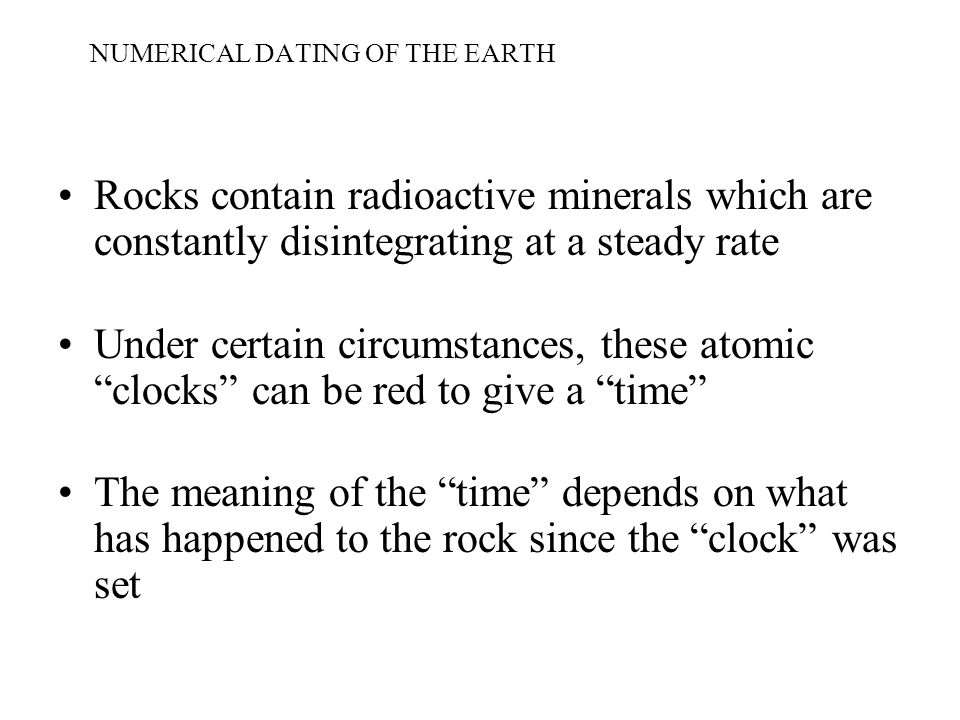 NUMERICAL DATING OF THE EARTH