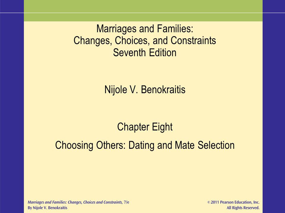 choosing others dating and mate selection In particular, we analyze gender differences in dating preferences as in all other hand, place greater emphasis on earning potential and women consider similarity and fit in choosing a mate [kerckhoff and davis 1962.