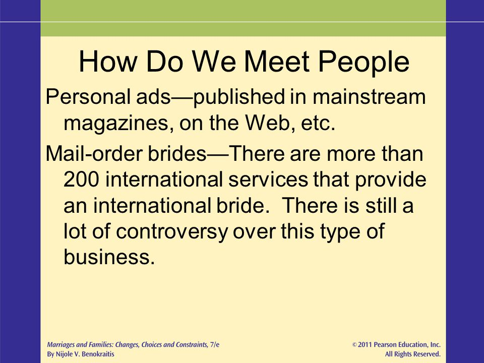 How Do We Meet People Personal ads—published in mainstream magazines, on the Web, etc.