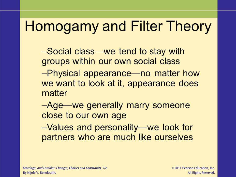 Homogamy and Filter Theory