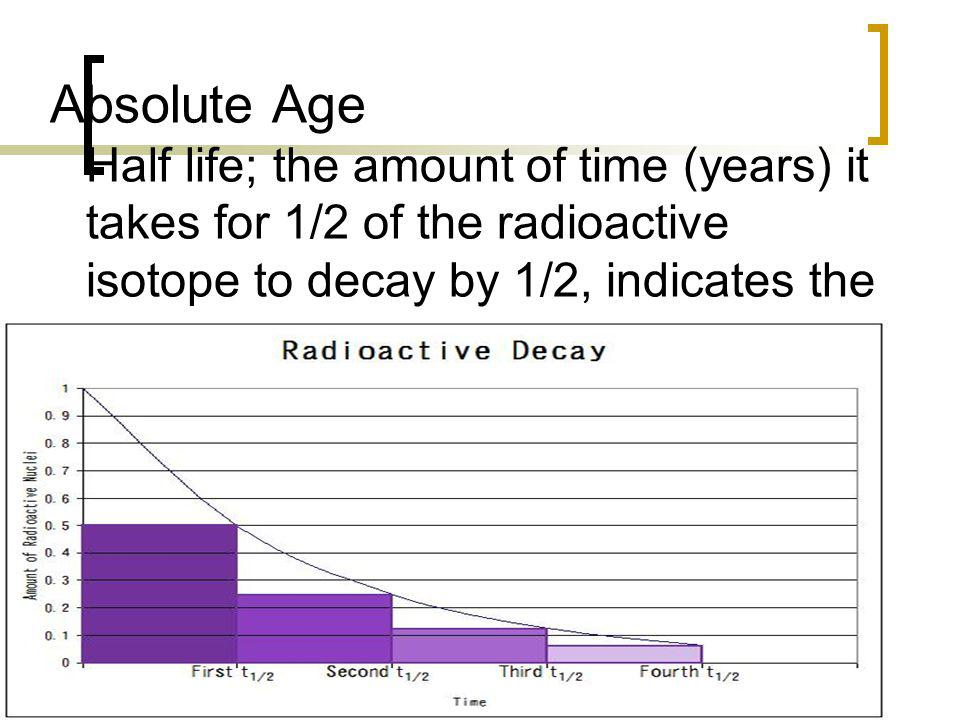 Absolute Age Half life; the amount of time (years) it takes for 1/2 of the radioactive isotope to decay by 1/2, indicates the age of the object.