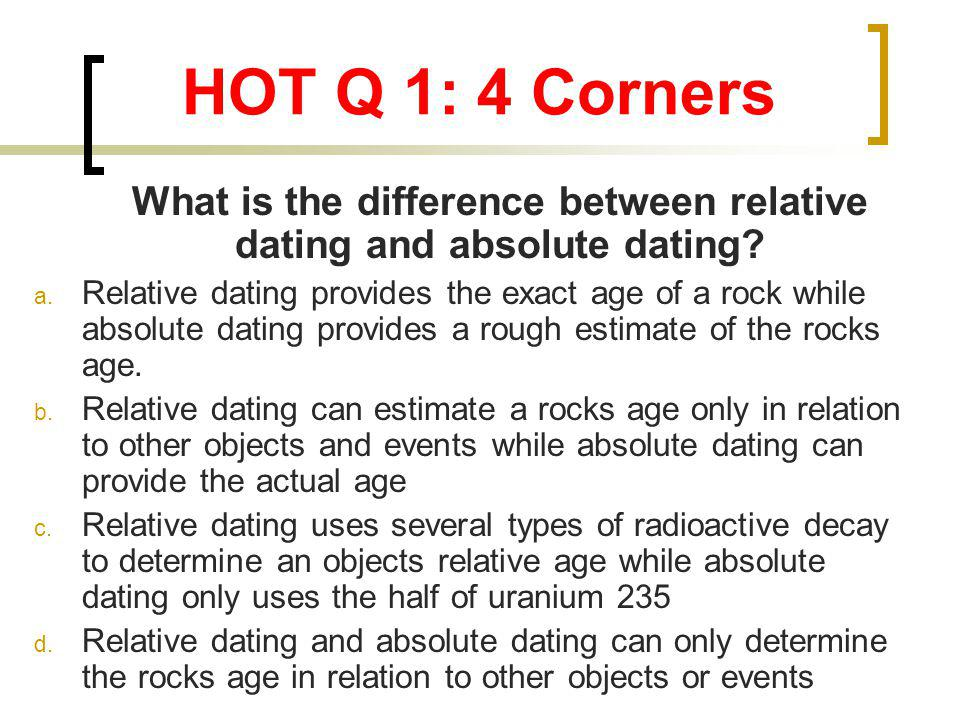what is absolute dating and relative dating Relative dating - discover the basics of this form of determining the relative age of strata, artifacts, etc how accurate is it.