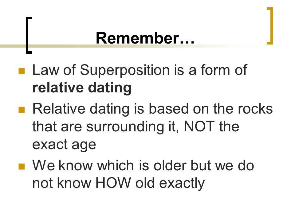Remember… Law of Superposition is a form of relative dating