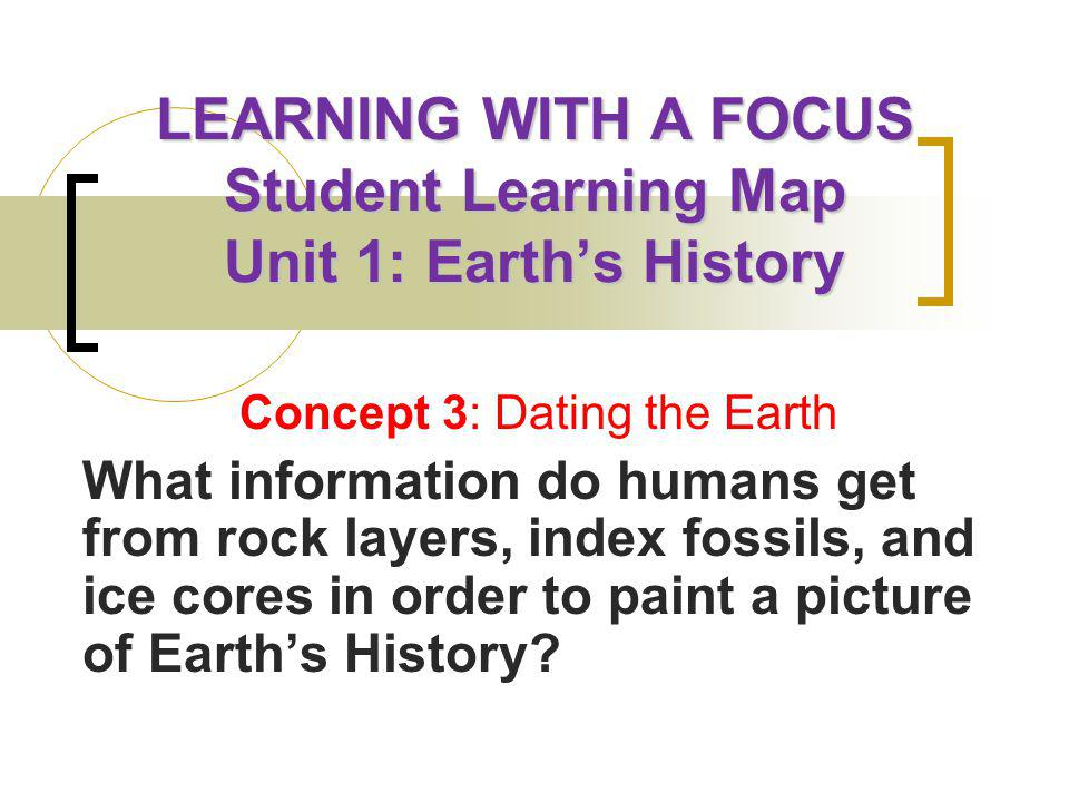 LEARNING WITH A FOCUS Student Learning Map Unit 1: Earth's History