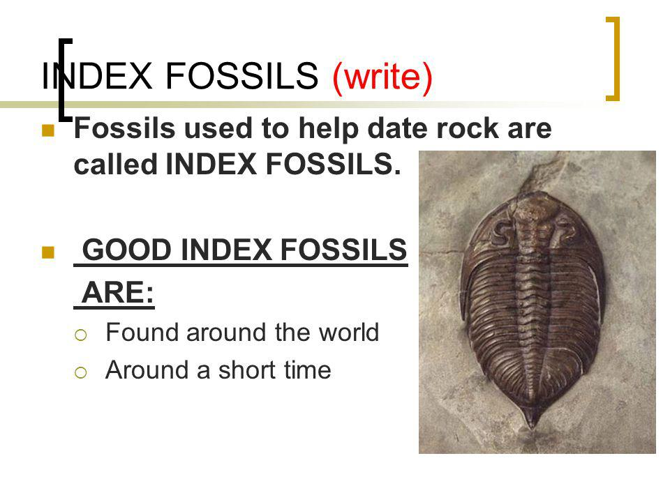 INDEX FOSSILS (write) Fossils used to help date rock are called INDEX FOSSILS. GOOD INDEX FOSSILS.