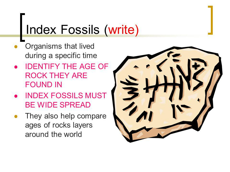 Index Fossils (write) Organisms that lived during a specific time