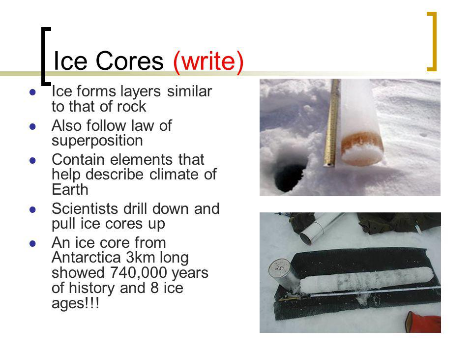 Ice Cores (write) Ice forms layers similar to that of rock