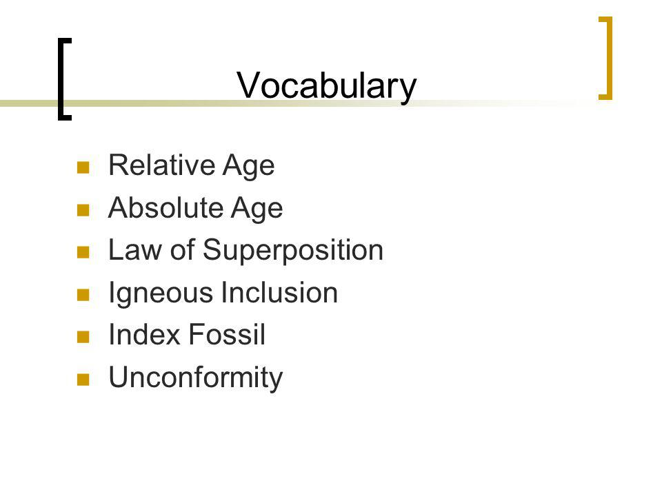 Vocabulary Relative Age Absolute Age Law of Superposition