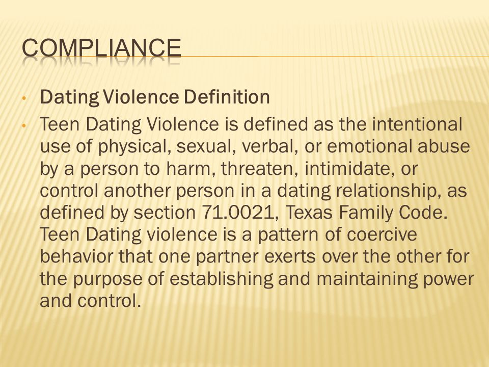 Compliance Dating Violence Definition