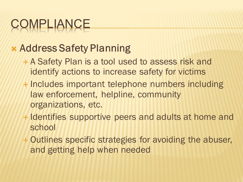 Compliance Address Safety Planning