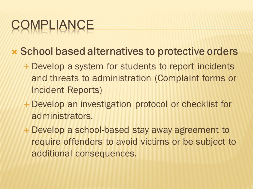 Compliance School based alternatives to protective orders