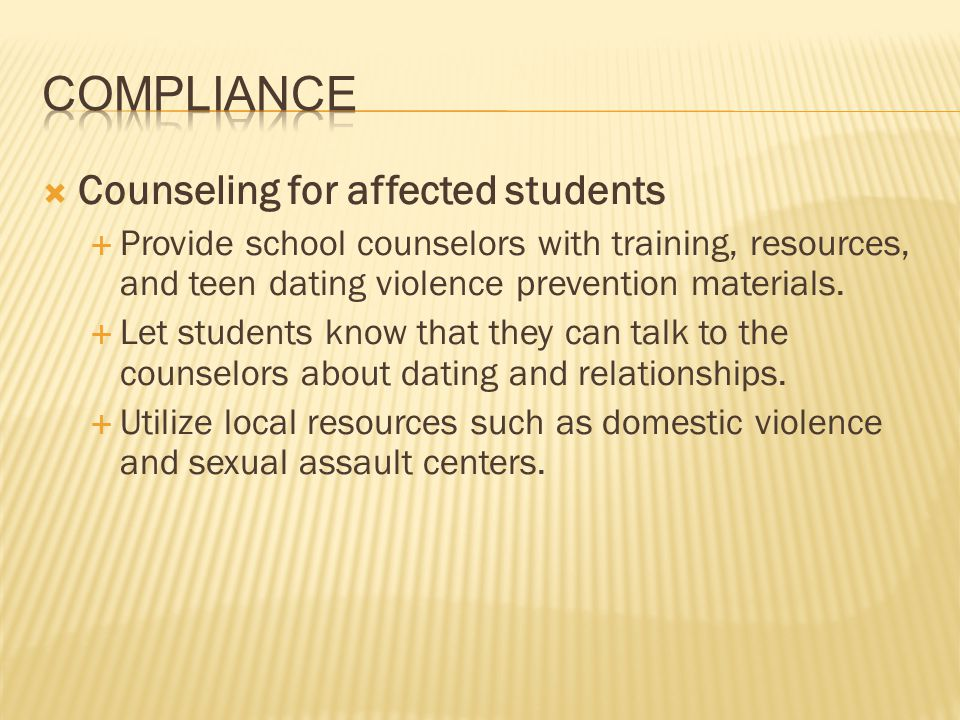 Compliance Counseling for affected students