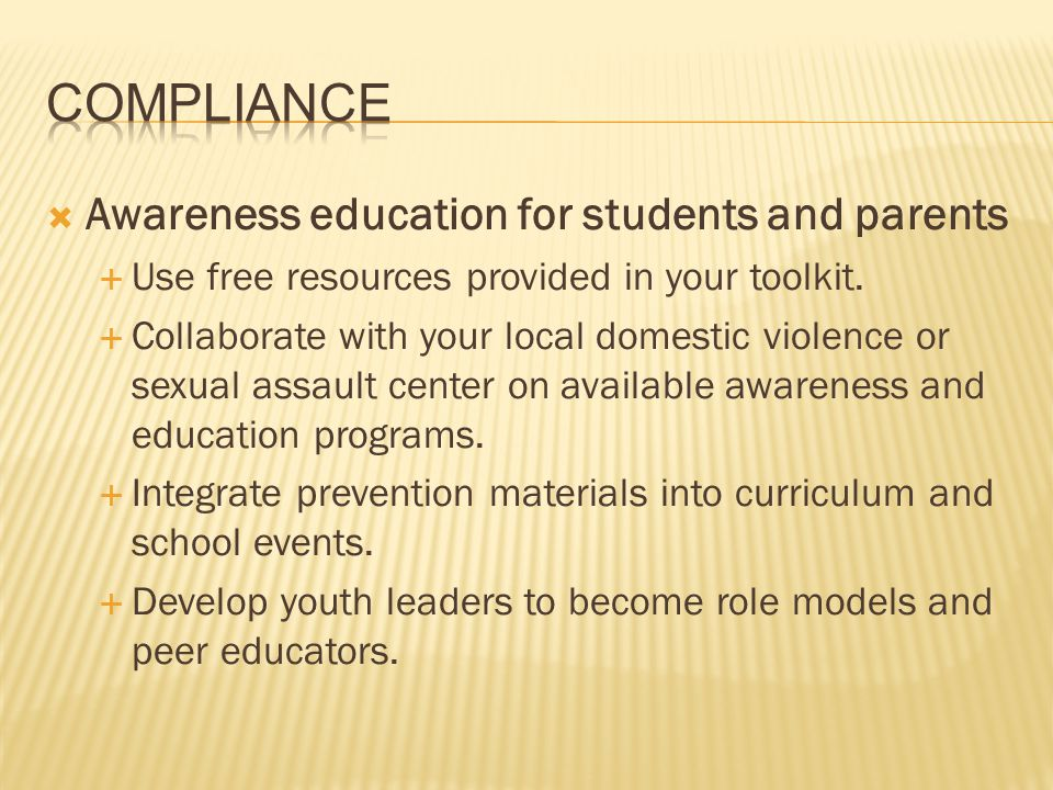 Compliance Awareness education for students and parents