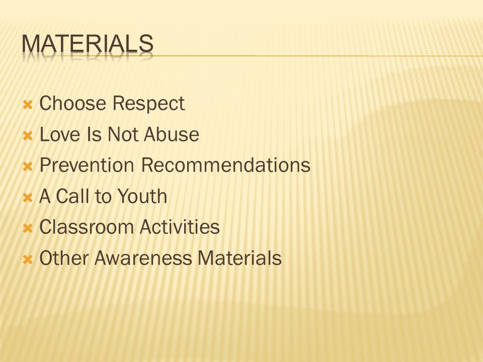 Materials Choose Respect Love Is Not Abuse Prevention Recommendations