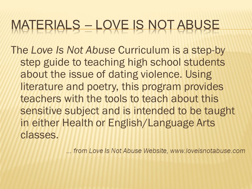 Materials – Love is Not Abuse