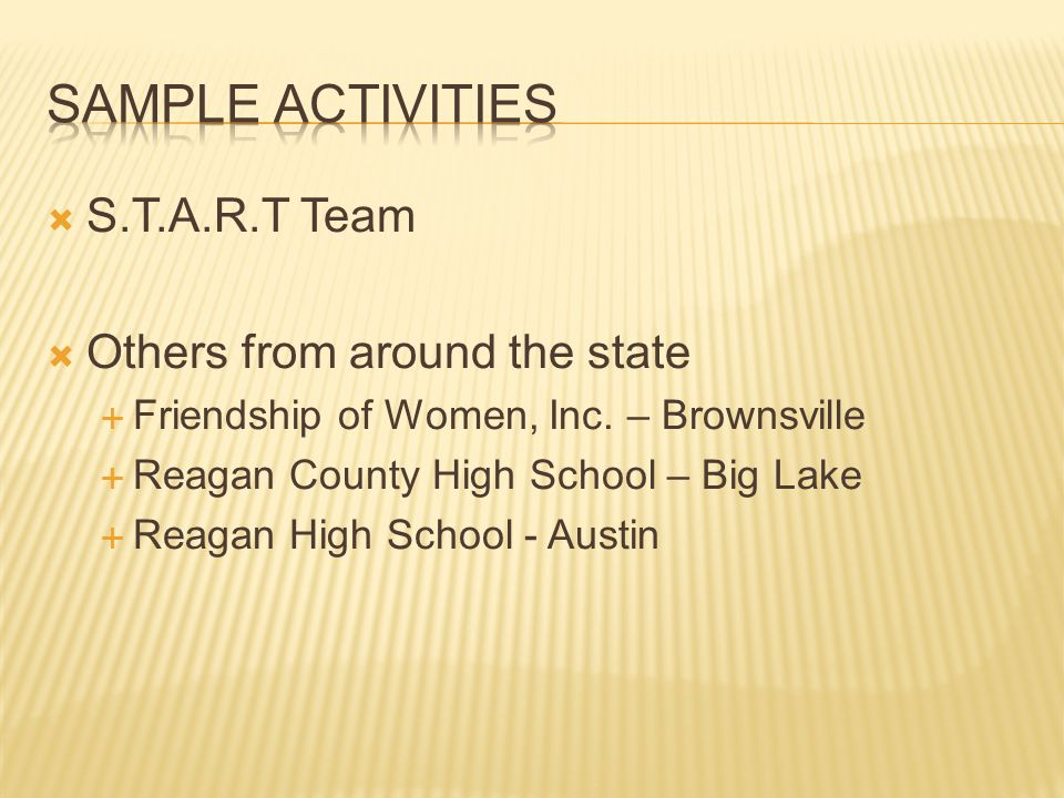 Sample Activities S.T.A.R.T Team Others from around the state