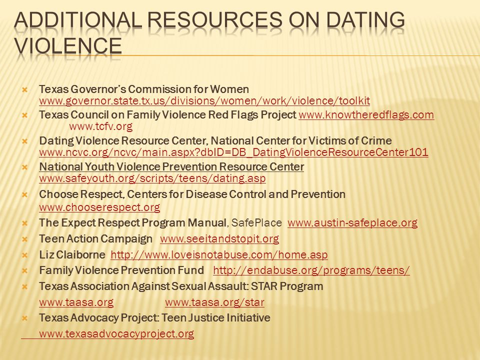 Additional Resources on Dating Violence
