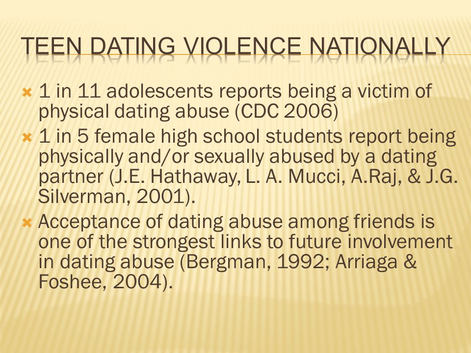 Teen Dating Violence Nationally