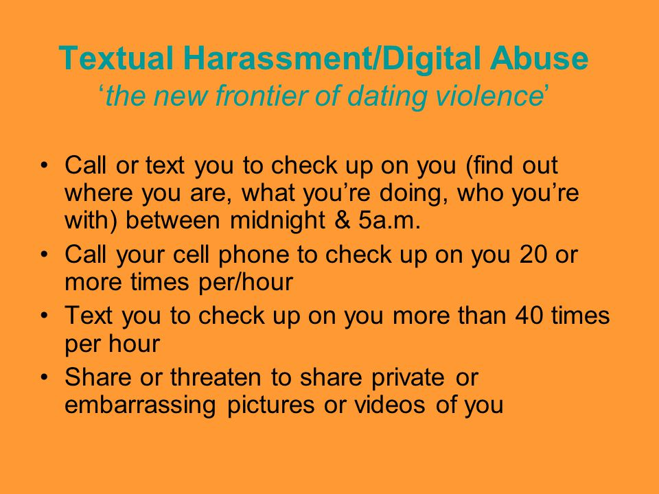 Textual Harassment/Digital Abuse 'the new frontier of dating violence'