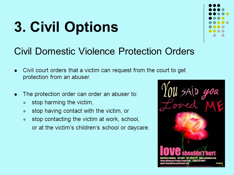3. Civil Options Civil Domestic Violence Protection Orders