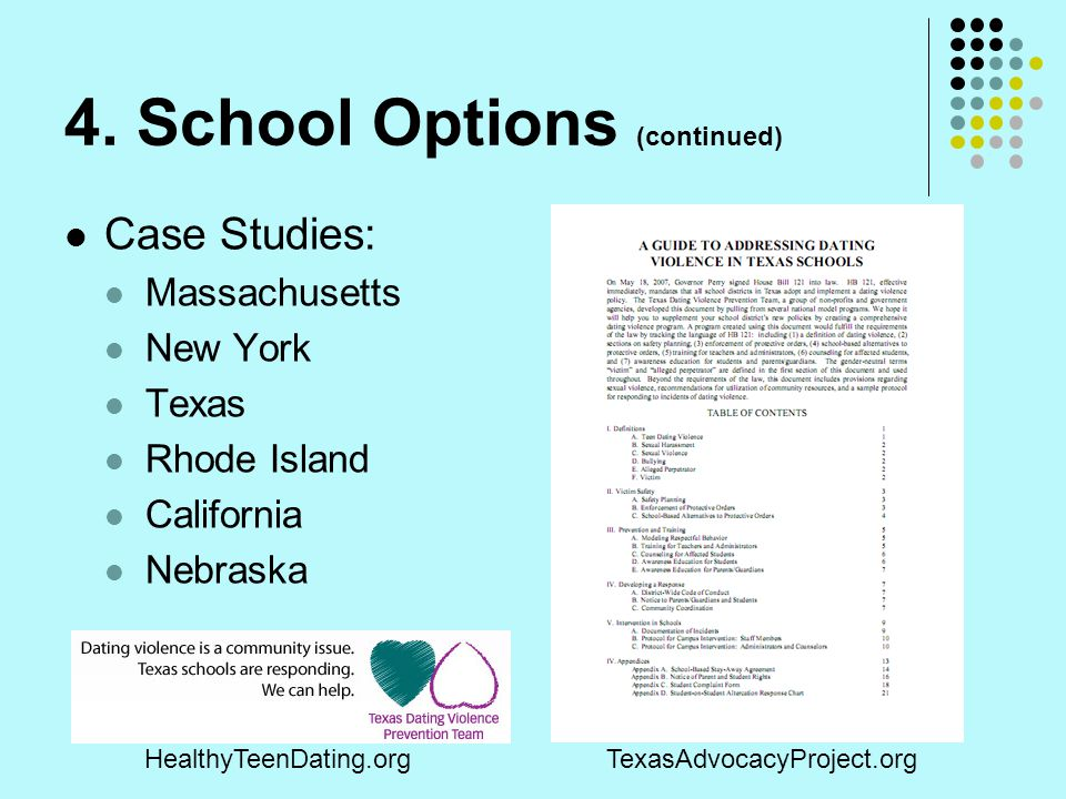 4. School Options (continued)
