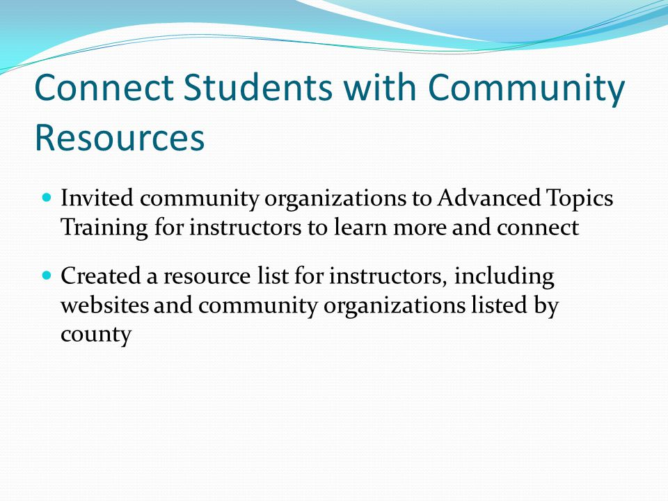 Connect Students with Community Resources