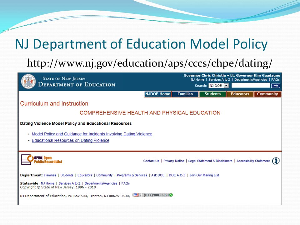 NJ Department of Education Model Policy
