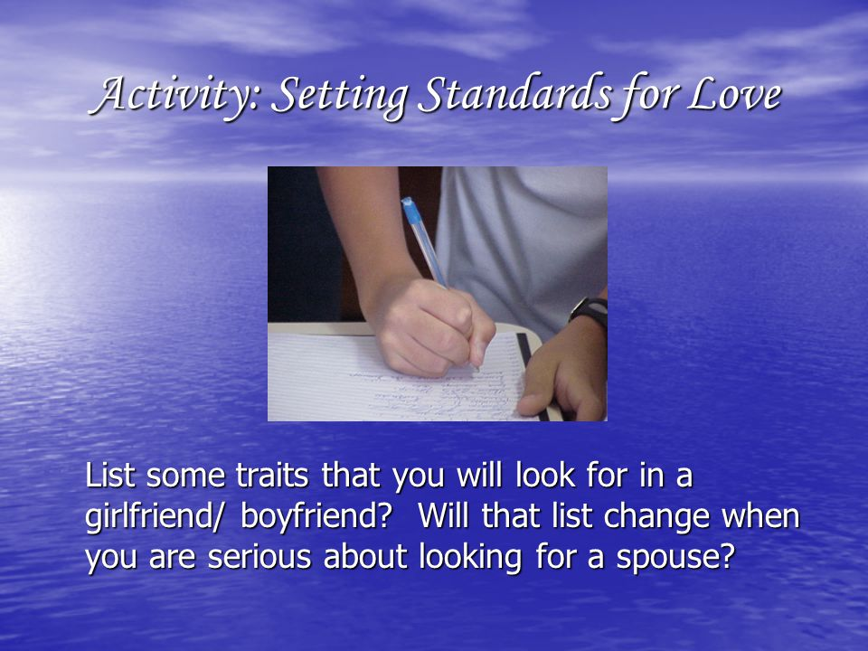 Activity: Setting Standards for Love