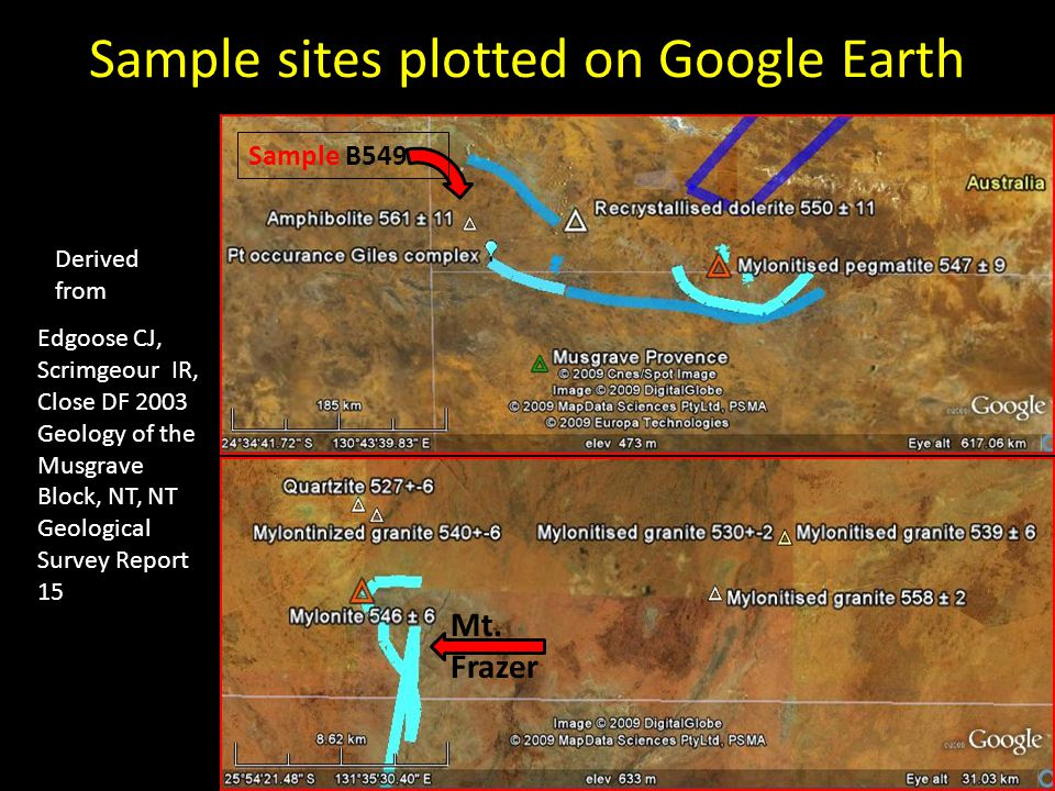 Sample sites plotted on Google Earth