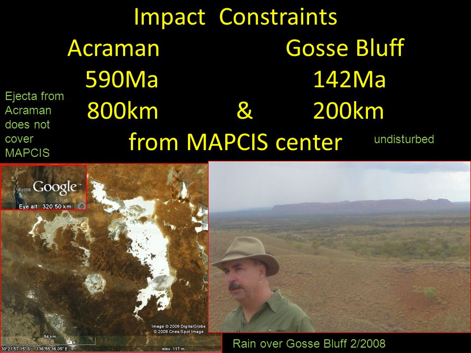 Impact Constraints Acraman Gosse Bluff 590Ma 142Ma 800km & 200km from MAPCIS center