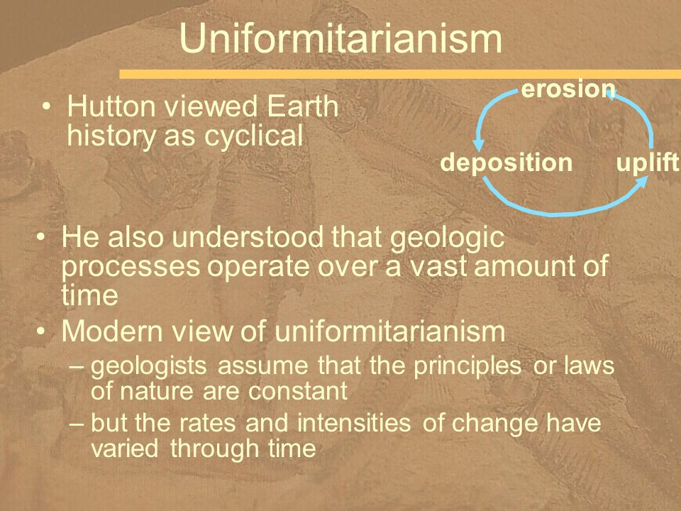 Uniformitarianism Hutton viewed Earth history as cyclical