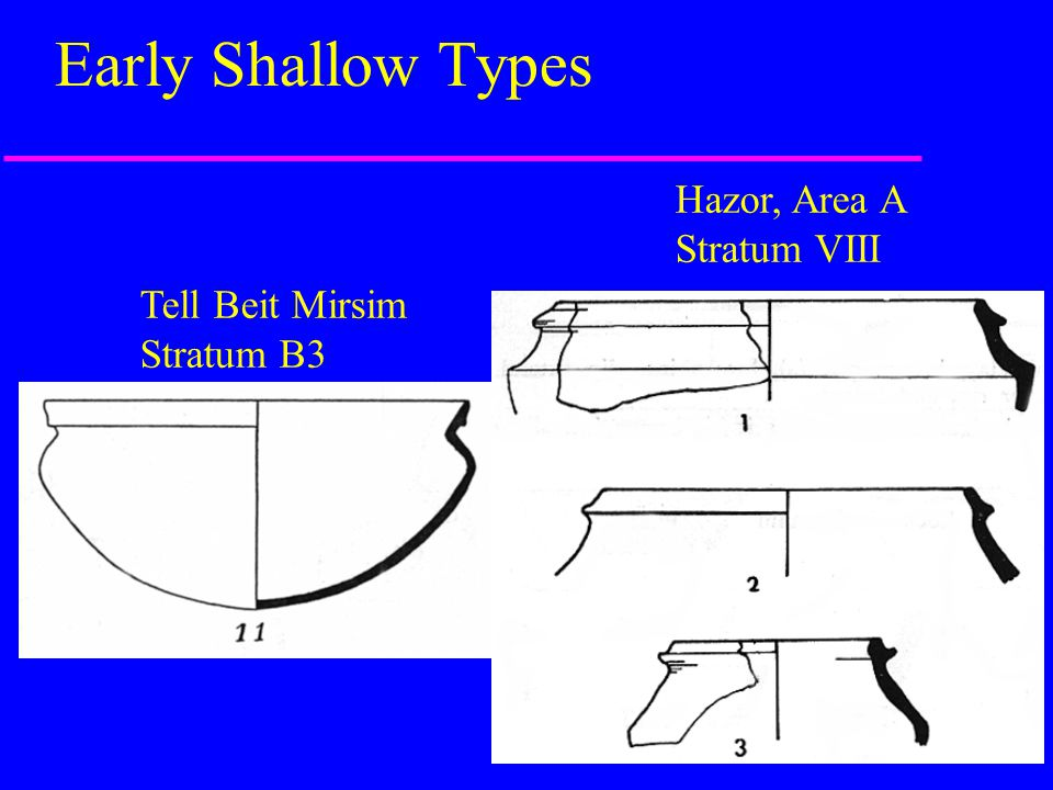 Early Shallow Types Hazor, Area A Stratum VIII Tell Beit Mirsim