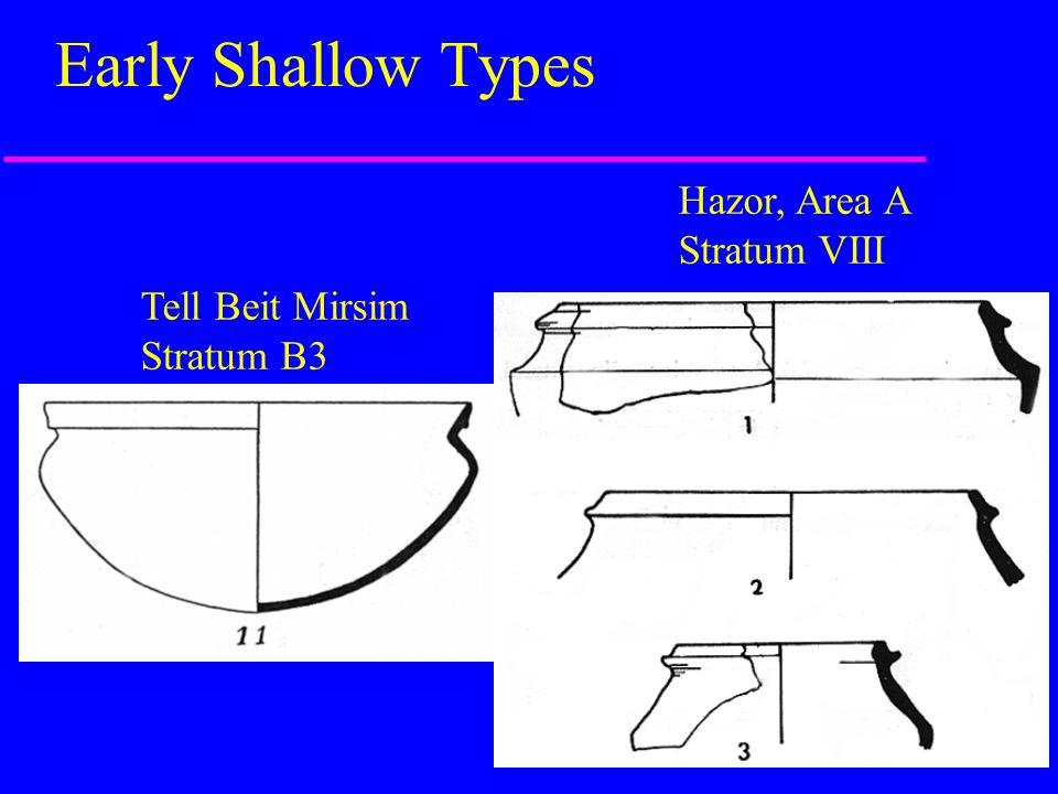 Early Shallow Types Hazor, Area A Stratum VIII Tell Beit Mirsim
