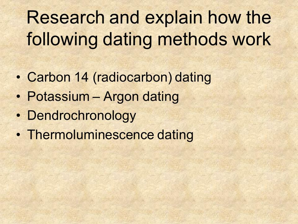 Research and explain how the following dating methods work