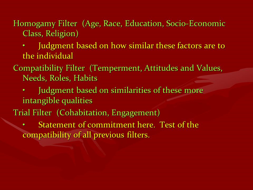 Homogamy Filter (Age, Race, Education, Socio-Economic Class, Religion)