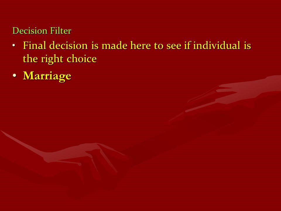 Decision Filter Final decision is made here to see if individual is the right choice Marriage