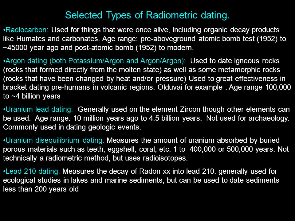 Forms of radiometric dating
