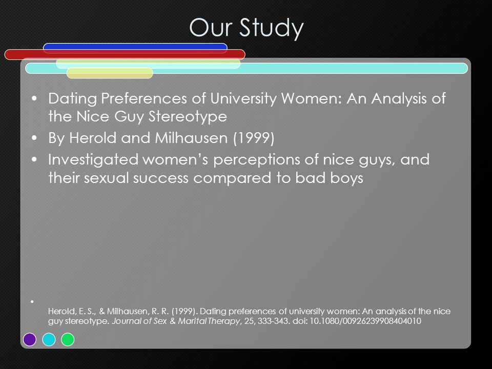 Our Study Dating Preferences of University Women: An Analysis of the Nice Guy Stereotype. By Herold and Milhausen (1999)