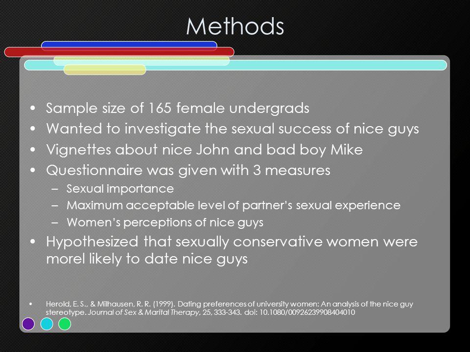 Methods Sample size of 165 female undergrads