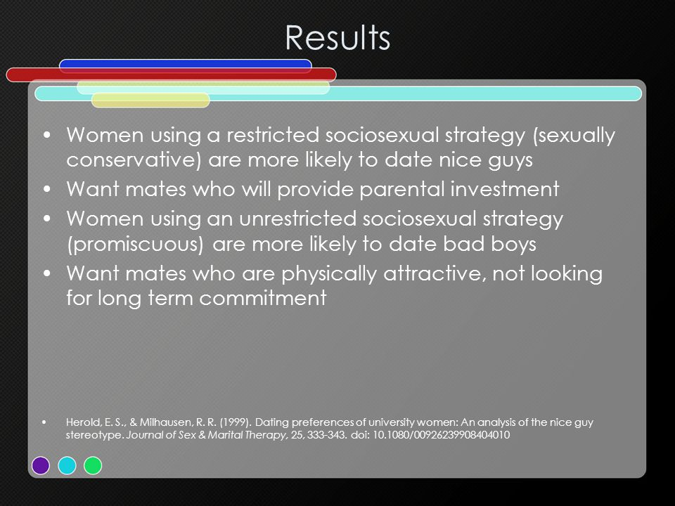 Results Women using a restricted sociosexual strategy (sexually conservative) are more likely to date nice guys.