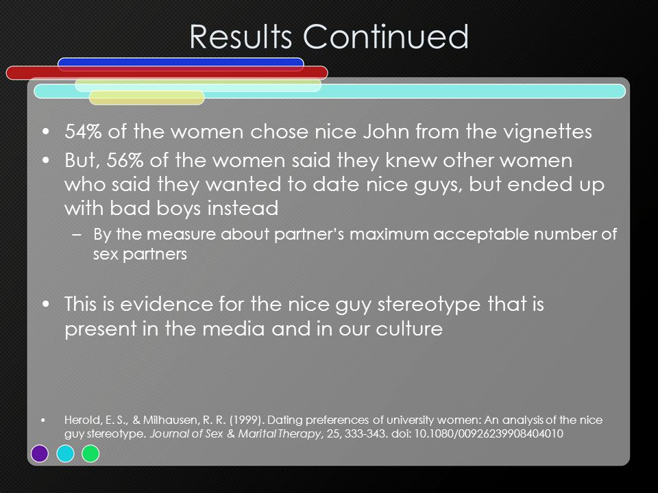 Results Continued 54% of the women chose nice John from the vignettes