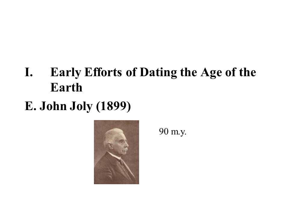 Early Efforts of Dating the Age of the Earth E. John Joly (1899)