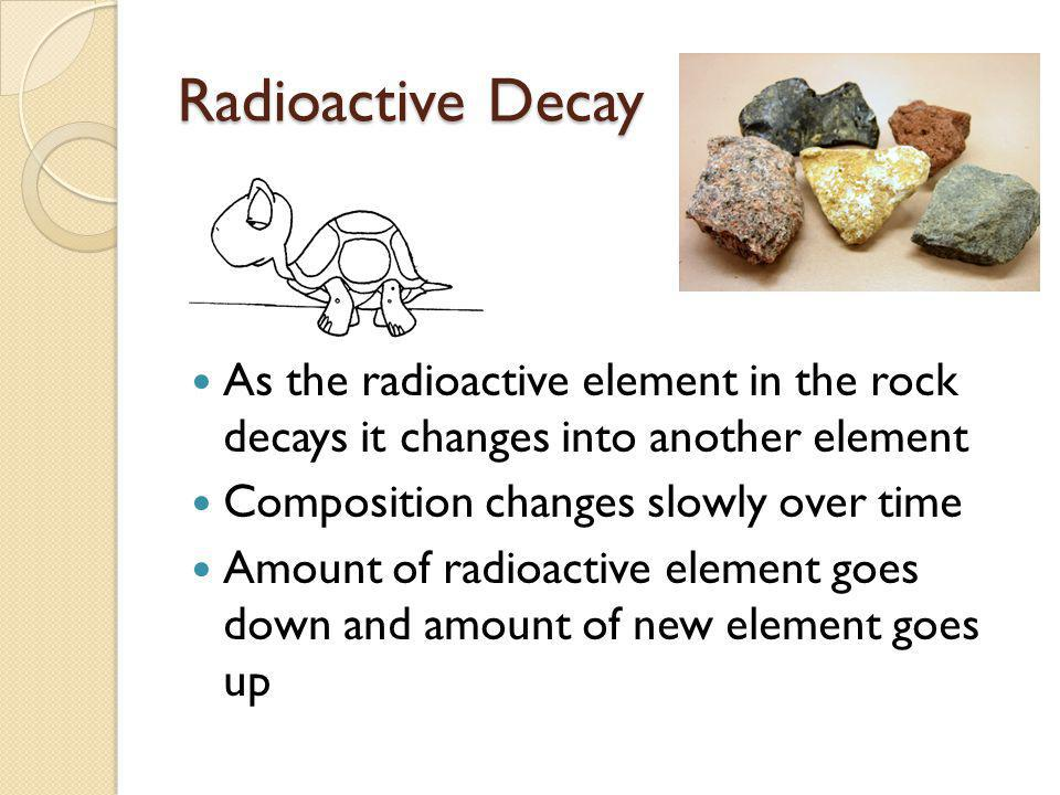 Radioactive Decay As the radioactive element in the rock decays it changes into another element. Composition changes slowly over time.