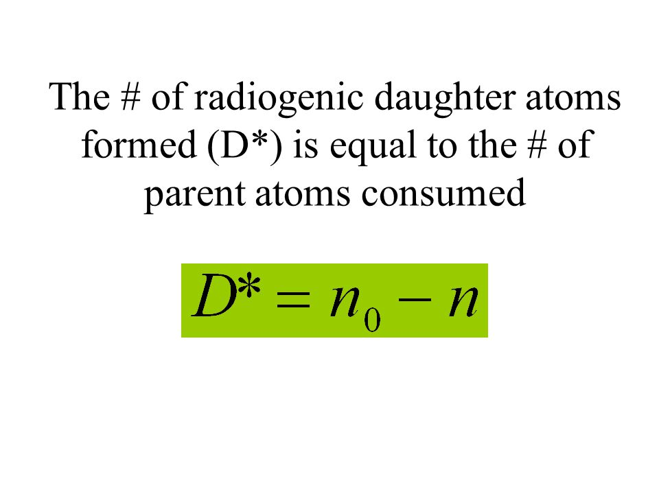 The # of radiogenic daughter atoms formed (D