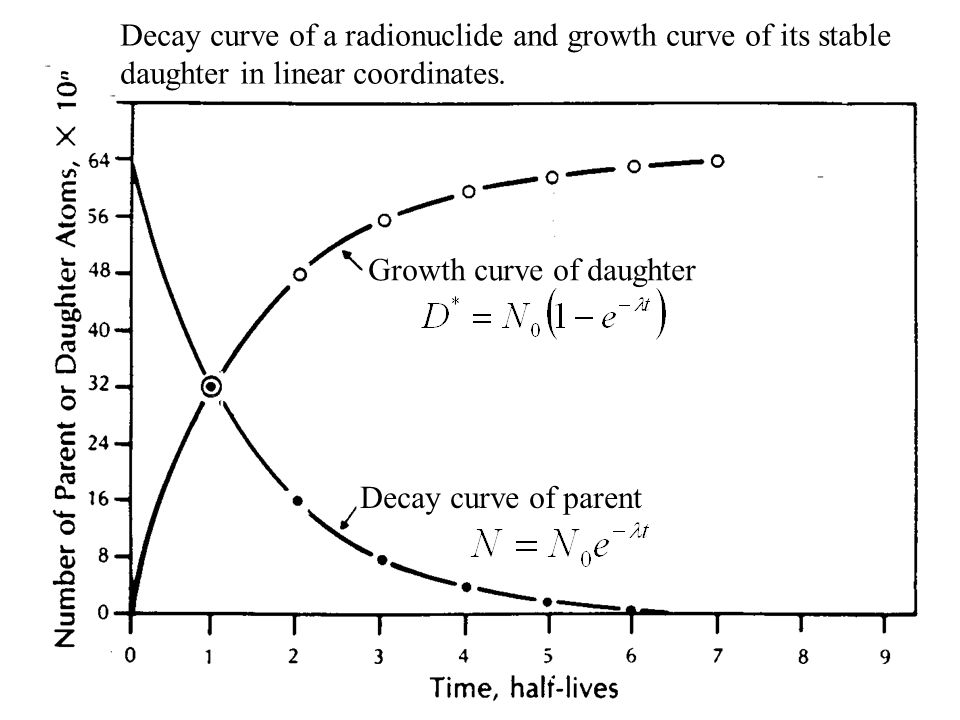 Decay curve of a radionuclide and growth curve of its stable daughter in linear coordinates.